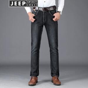 JEEP吉普弹力牛仔裤男2018春秋新款黑色休闲长裤男装舒适棉质修身牛仔长裤子