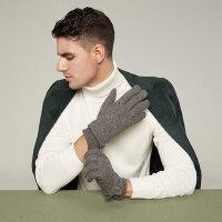 男士羊毛羊绒毛线针织手套加绒加厚双层保暖骑行开车户外防滑