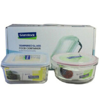 GLASS LOCK 三光云彩饭盒 微波钢化玻璃保鲜盒 GL100A便当盒 两件套