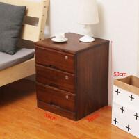 带锁床头柜实木用抽屉式移动带轮40宽五斗小柜子胡桃色高款 整装