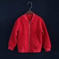 2018女童秋冬新款外套夹克衫儿童长袖红色上衣拉链衫亲子母女装