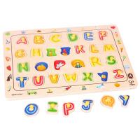 Hape字母拼图3-6岁大写字母抓手拼图儿童早教启蒙益智玩具积木拼插拼图拼板E1501