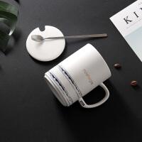 创意简约早餐陶瓷马克杯带盖勺咖啡杯情侣杯子一对水杯