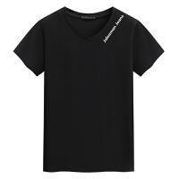 V领短袖男士T恤 新款汗衫男装 印花T恤领口字母