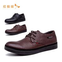 【专柜正品】红蜻蜓圆头系带时尚休闲舒适潮流男单鞋