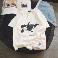 夏季日系卡通印花短袖T恤宽松男士衣服韩版情侣学生圆领半袖体恤