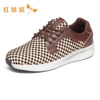 红蜻蜓正品男鞋格子织物休闲系带板鞋防滑舒适低帮鞋运动鞋-
