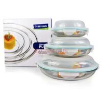 GlassLock/三光云彩钢化玻璃乐扣 保鲜盒|碗果盘礼盒三件套装GL101-5便当盒饭碗