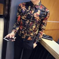 2018春装新款欧美印花衬衫男长袖修身韩版英伦青年免烫衬衣潮