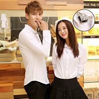 发型师KTV镶钻工作服班情侣装长袖衬衫韩版修身男女士免烫白衬衣