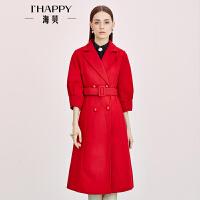 海贝秋季新款女装 时尚翻领红色中长款毛呢外套大衣