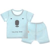 夏季彩棉男女童家居服薄款t恤套装短袖棉空调服