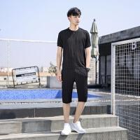 两件套短袖男t恤宽松夏季2019新款韩版潮流休闲男士套装青年衣服