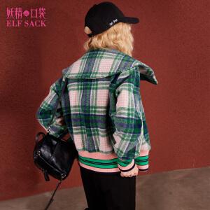 【每满150减50】妖精的口袋鬼马表演冬装新款撞色复古格子短款毛呢外套女