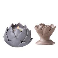 创意客厅装饰品摆设陶瓷烛台蜡烛小摆件莲花灯工艺品餐桌