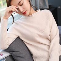 修身针织打底羊毛衫秋冬季新款女士半高领短款斜纹套头羊绒衫