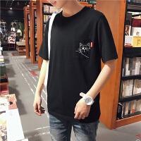 18春夏新款好奇口袋色短袖T恤男生韩版小清新半袖汗衫学生潮