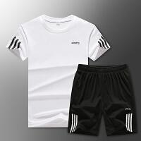 套装夏男士休闲运动套装速干跑步短袖T恤+短裤2件套