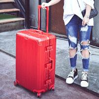 铝框拉杆箱PC海关锁万向轮行李箱20寸22寸24寸26寸29寸男女旅行箱 炫酷镜面 中国红