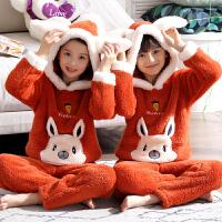 男孩秋冬季保暖珊瑚绒女童睡衣宝宝家居服套装法兰绒儿童睡衣