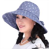 妈妈帽子女夏季防晒中年帽子中老年韩版遮阳帽布帽女士大檐防晒帽
