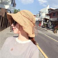 户外出游大沿帽草帽 女士镂空帽子防晒沙滩帽 海边可折叠大檐帽遮阳帽