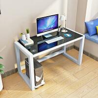 钢化玻璃电脑台式桌组合书架家用书桌简约圆角办公桌办公台写字桌