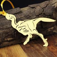 侏罗纪恐龙书签 当当自营 伤齿龙 黄铜材质 镂空创意高档金属书签套盒中国风 韩国书签精美卡通可爱书签 货到付款