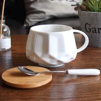 欧式咖啡杯带盖勺马克杯简约杯子陶瓷 创意办公室家用水杯女