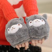 韩版潮情侣学生卡通圣诞翻盖半指手套女冬季加厚加绒保暖可爱