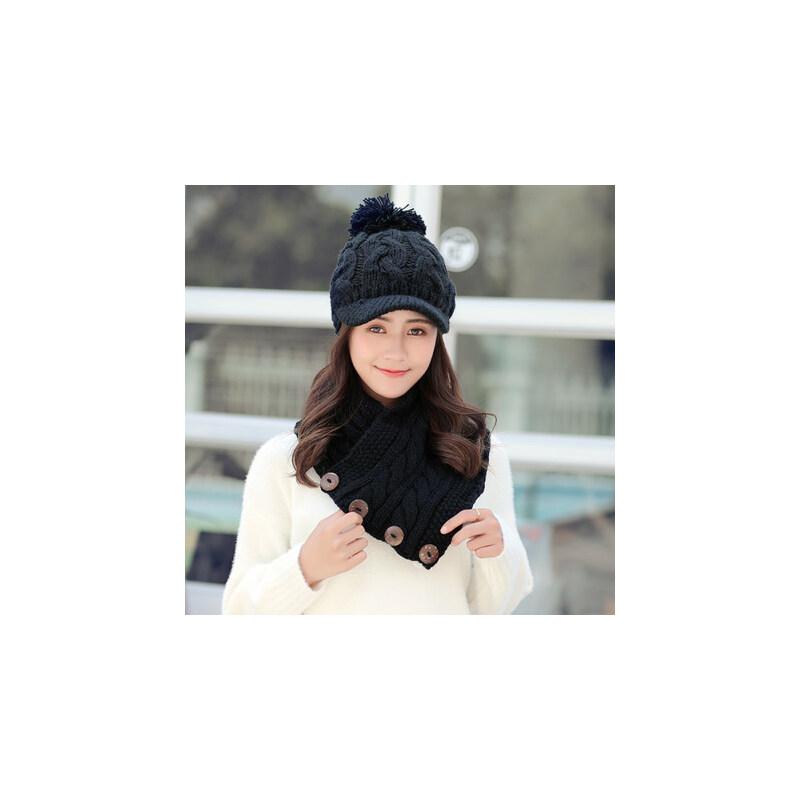围巾百搭学生保暖护耳帽帽子女韩版潮鸭舌帽针织毛线帽 品质保证 售后无忧