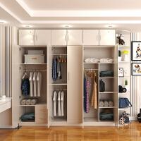 衣柜简约现代经济型卧室整体简易木质推拉门组装柜组合板式大衣橱 6门 组装