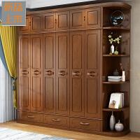 实木衣柜456门简约现代中式卧室整体经济型转角对开门木质大衣橱定制