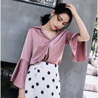 2018夏季新款时尚韩版显瘦V领缎面雪纺衫气质长袖西装领衬衣女