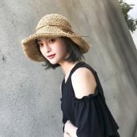 户外海边出游防晒大沿帽 女士百搭休闲草帽沙滩帽子 新款太阳帽女可折叠遮阳帽