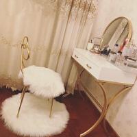 北欧现代简约梳妆台欧式小户型实木迷你公主铁艺卧室简易化妆桌子 挂镜 【40直径】