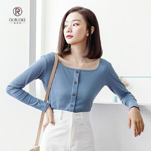 欧若珂 2018秋季新款韩版复古港味方领上衣修身纯色装短袖长袖打底T恤女