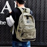 韩版帆布双肩包背包男士电脑包 旅游休闲双肩背包双肩女帆布书包