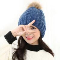 针织毛线帽子女毛球时尚户外保暖加厚百搭可爱学生帽子