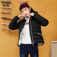 #森马羽绒服女短款2017冬季新款连帽学生韩版长袖外套纯色显瘦潮