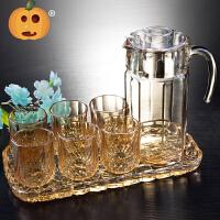 【支持礼品卡】玻璃杯套装家用水杯 水具杯具客厅杯子8件套茶杯喝水带托盘s3k