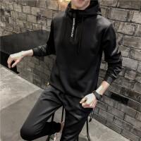 卫衣套装男2018春装新款连帽卫衣两件套韩版修身潮流帅气运动套装