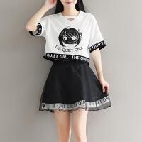 2018新款韩版短袖短裙两件套装少女可爱连衣裙初中学生裙子女夏装