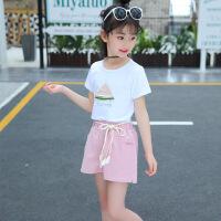 童装新款儿童休闲套装中大女童夏季时尚短袖短裤两件套上衣潮 浅绿色 西瓜(单T+裤子) 闪电发