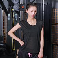 运动上衣女速干衣女运动背心女宽松纯色无袖健身衣女