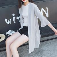 2018新款防晒衣中长款雪纺衫女薄夏季防晒开衫外套外披喇叭袖chic