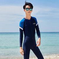 潜水服男连体长袖防晒泳衣韩国拉链浮潜水母游泳冲浪衣情侣套装 藏青蓝白