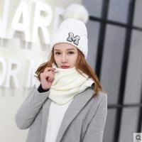 毛线针织帽子女纯色 大毛球字母M帽子韩版时尚百搭学生帽子