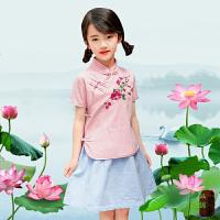 女童汉服襦裙连衣裙中国风民族风小童夏装新款女宝宝套裙表演裙子 粉色 绣花