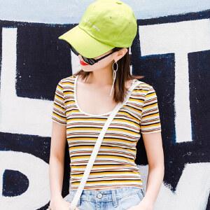 七格格条纹t恤女短袖修身漏锁骨小心机夏装2018新款韩版女ins潮牌上衣女